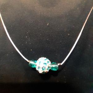 Green & Silver Bead floating Silvertone Wire